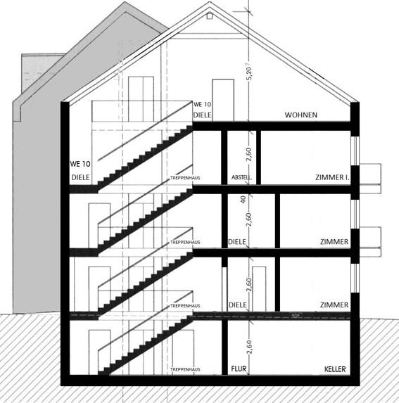 Komfortwohnen in ruhiger Citylage von Hilden - Gebäudeschnitt